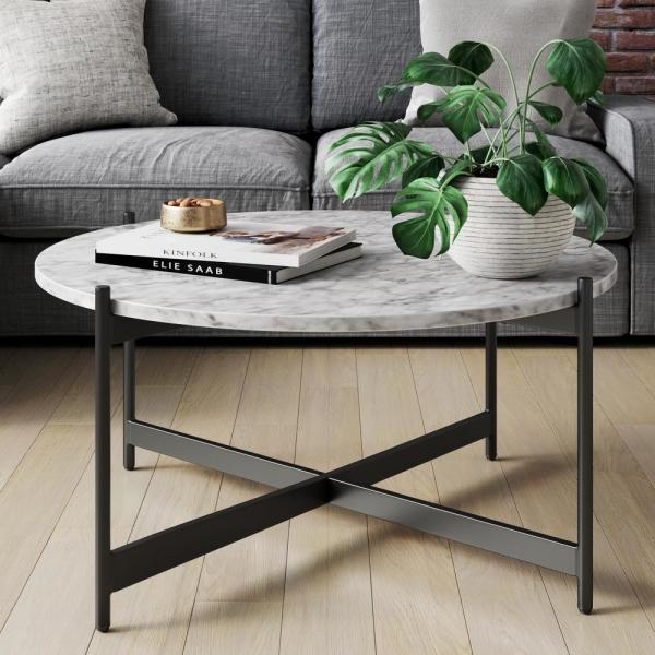 Piper White Faux Marble Black Metal Frame Round Modern Living Room Coffee Table