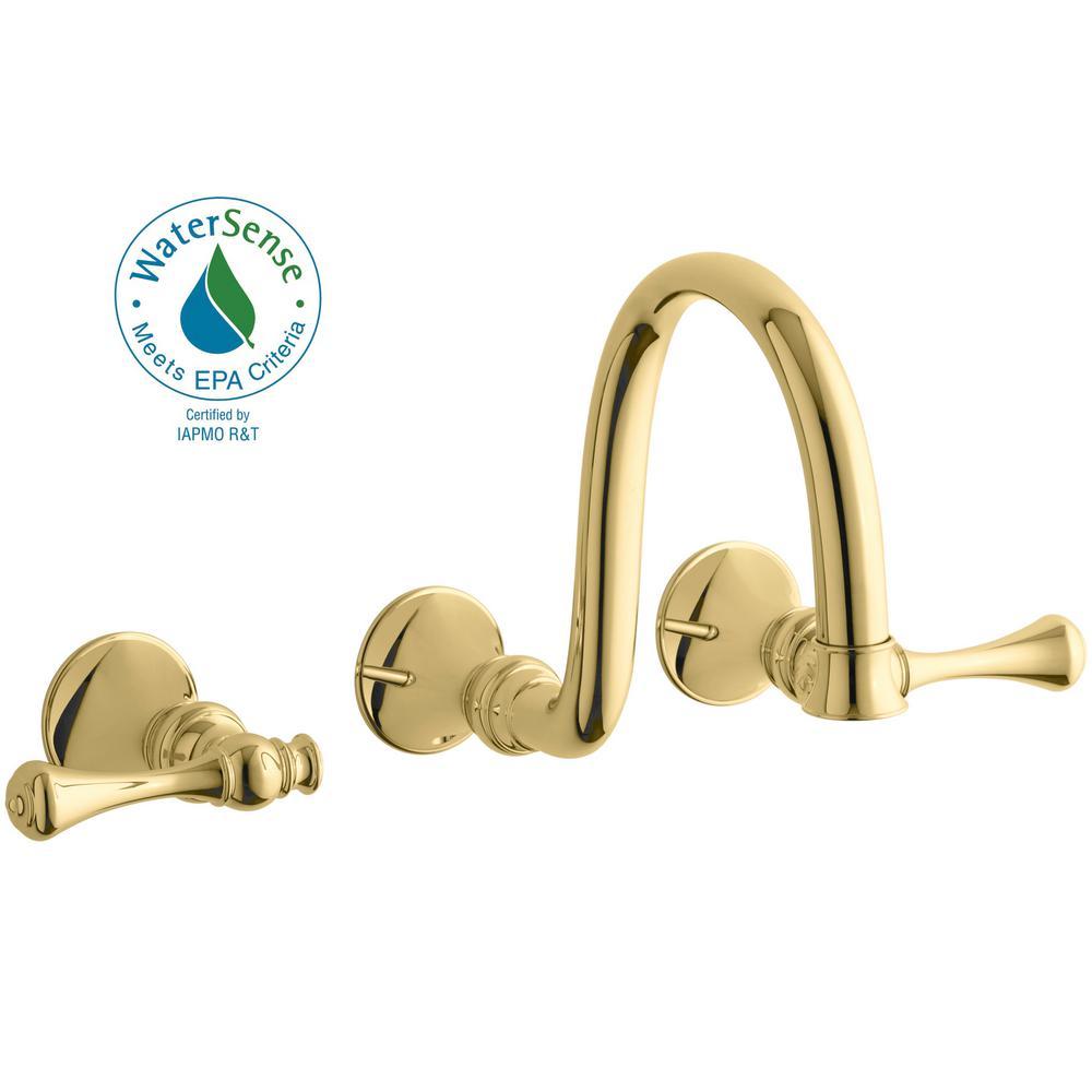 KOHLER Revival Wall-Mount Water-Saving Bathroom Faucet Trim Kit in Vibrant Polished Brass (Valve Not Included)