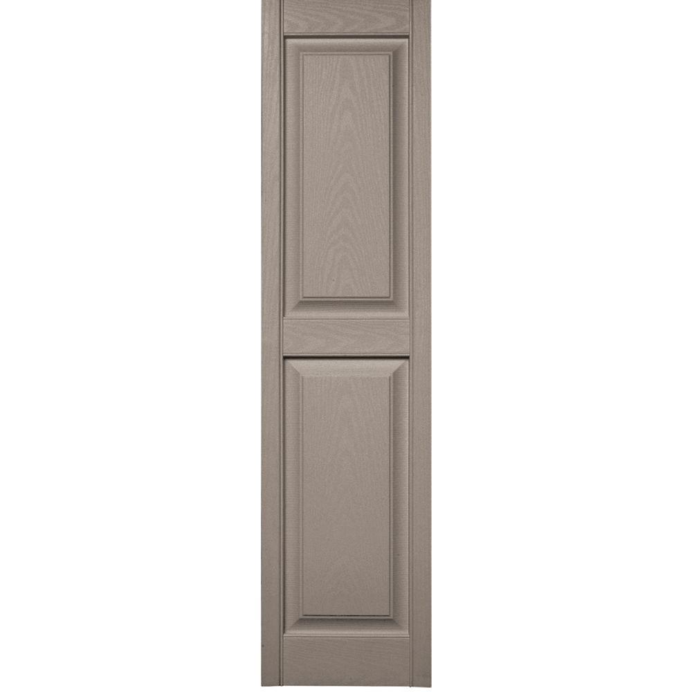 Builders Edge 15 in. x 59 in. Raised Panel Vinyl Exterior Shutters Pair in #008 Clay
