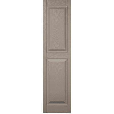 15 in. x 59 in. Raised Panel Vinyl Exterior Shutters Pair in #008 Clay