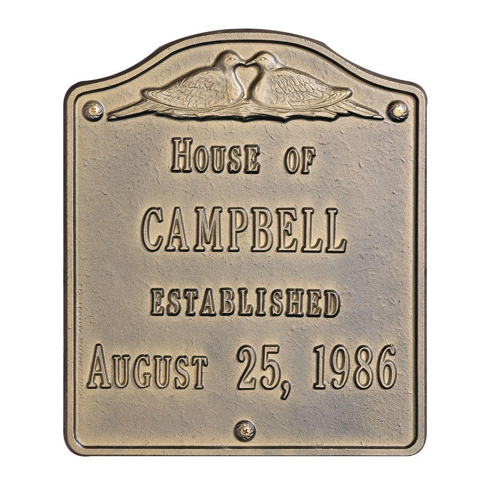 612a7067f2ef Whitehall Products Wedding Square Standard Wall 2-Line Address Plaque -  Antique Brass