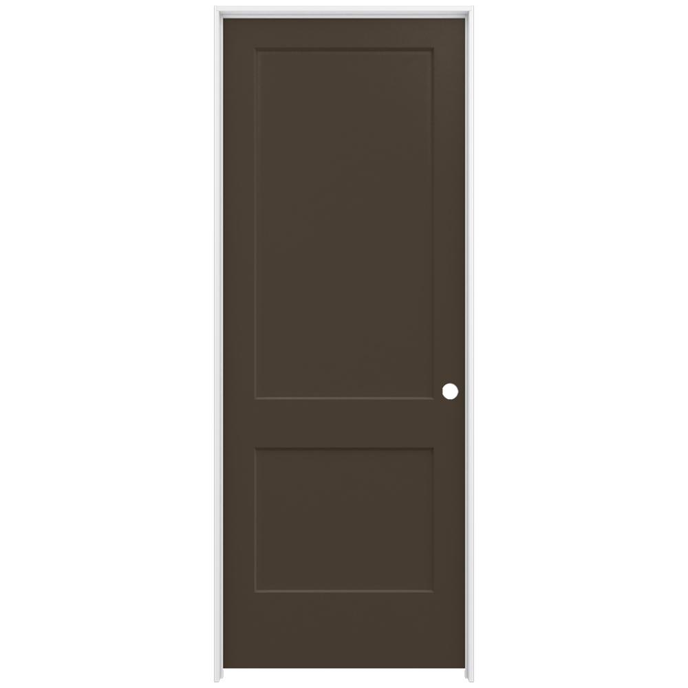 Jeld wen 36 in x 96 in monroe dark chocolate left hand smooth solid core molded composite mdf for Solid core interior doors soundproof