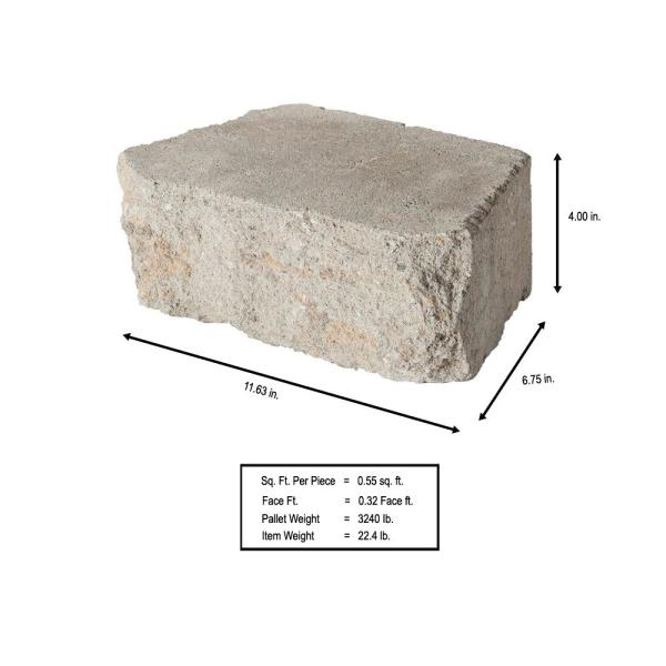 Pavestone 4 In X 11 75 In X 6 75 In Fieldstone Concrete Retaining Wall Block 144 Pcs 46 5 Face Ft Pallet 81185 The Home Depot