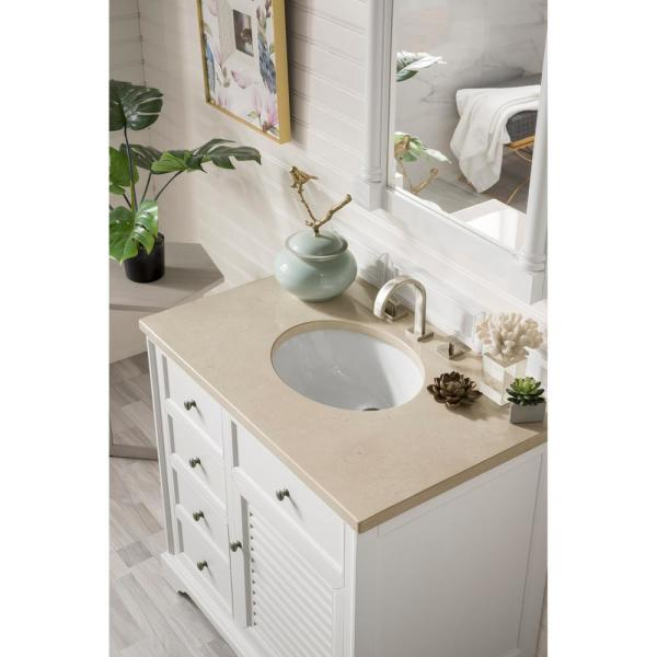 Savannah 36 in. Single Bath Vanity in Cottage White with Marble Vanity Top in Galala Beige with White Basin