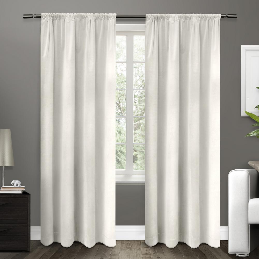 Cotton Velvet Winter White Blackout Rod Pocket Top Window Curtain