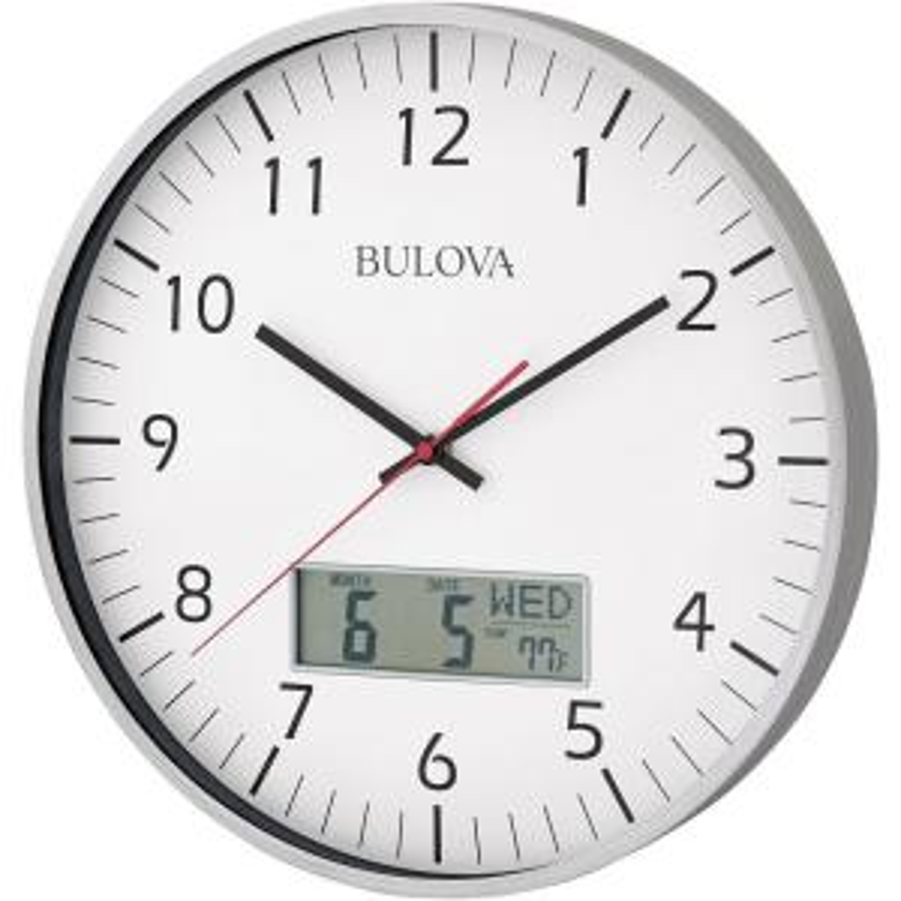 Bulova 14 inch H x 14 inch W Round Wall Clock by Bulova