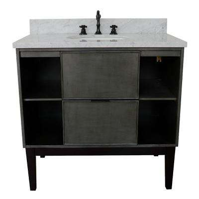 Scandi III 37 in. W x 22 in. D Bath Vanity in Gray with Marble Vanity Top in White with White Oval Basin