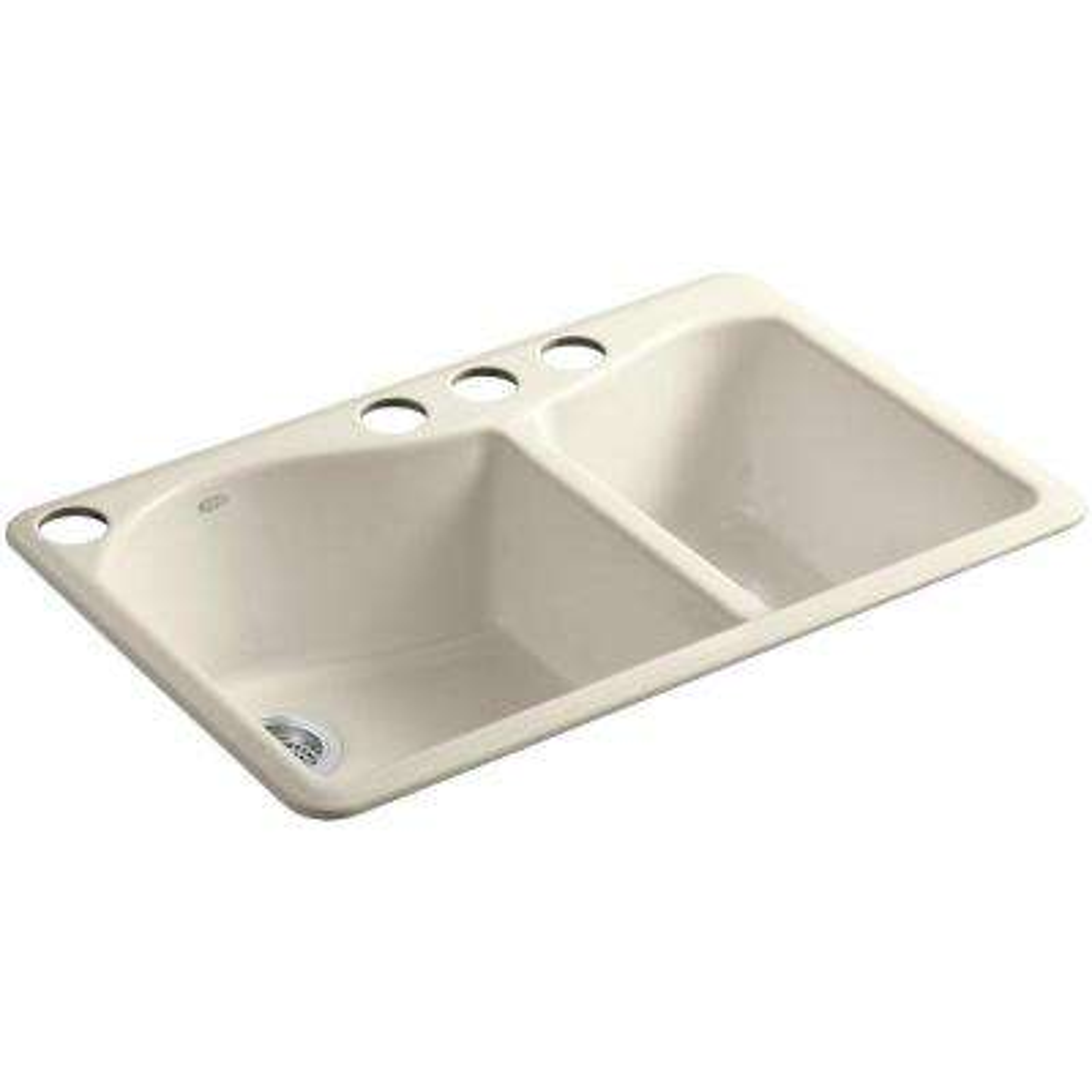 Lawnfield Undermount Cast-Iron 33 in. 4-Hole Double Bowl Kitchen Sink in Almond