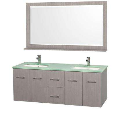 Centra 60 in. Double Vanity in Grey Oak with Glass Vanity Top in Aqua and Square Porcelain Undermounted Sinks