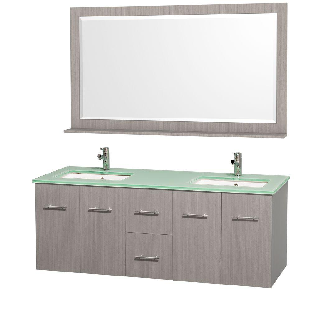 Centra 60 in. Double Vanity in Grey Oak with Glass Vanity