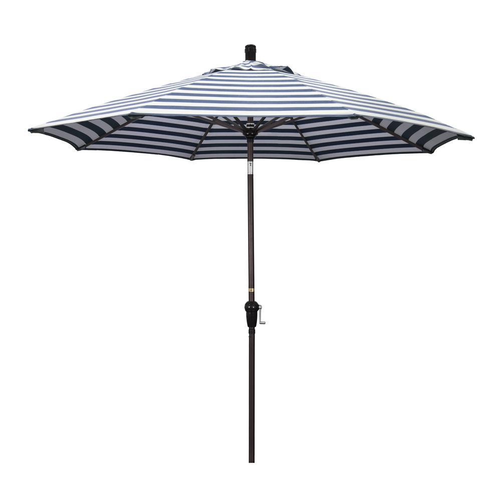 California Umbrella 9 ft. Aluminum Market Auto Tilt Bronze Patio Umbrella in Navy White Cabana Stripe Olefin
