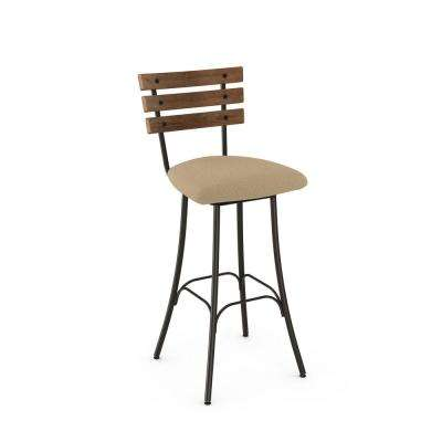 Lodge 30 in. Semi-Transparent Gun Metal Wheat Warm Beige Polyester Medium Brown Wood Barstool