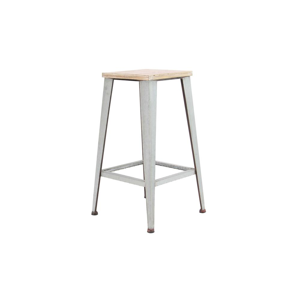 Light Brown Square Wood And Iron Stool