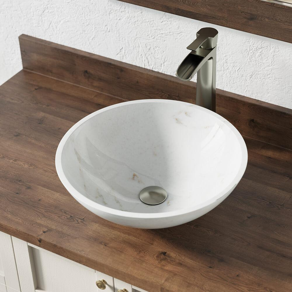 Mr Direct Stone Vessel Sink In Honed Basalt White Granite With 731 Faucet And Pop Up Drain In Brushed Nickel 850 W 731 Bn The Home Depot