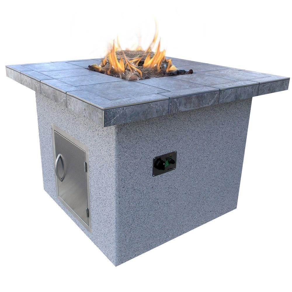 Stucco and Tile Dining Height Square Propane Gas Fire Pit