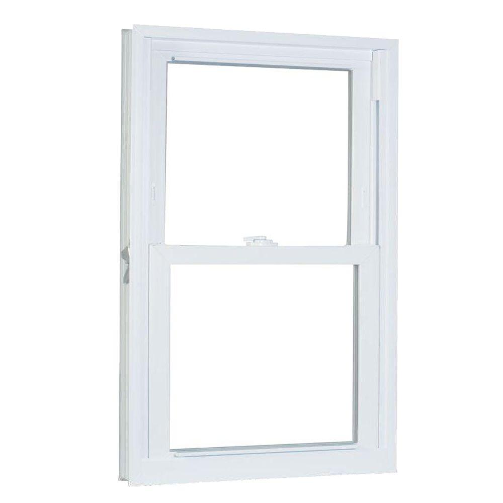 American Craftsman 35.75 in. x 61.25 in. 70 Series Pro Double Hung White Vinyl Window with Buck Frame