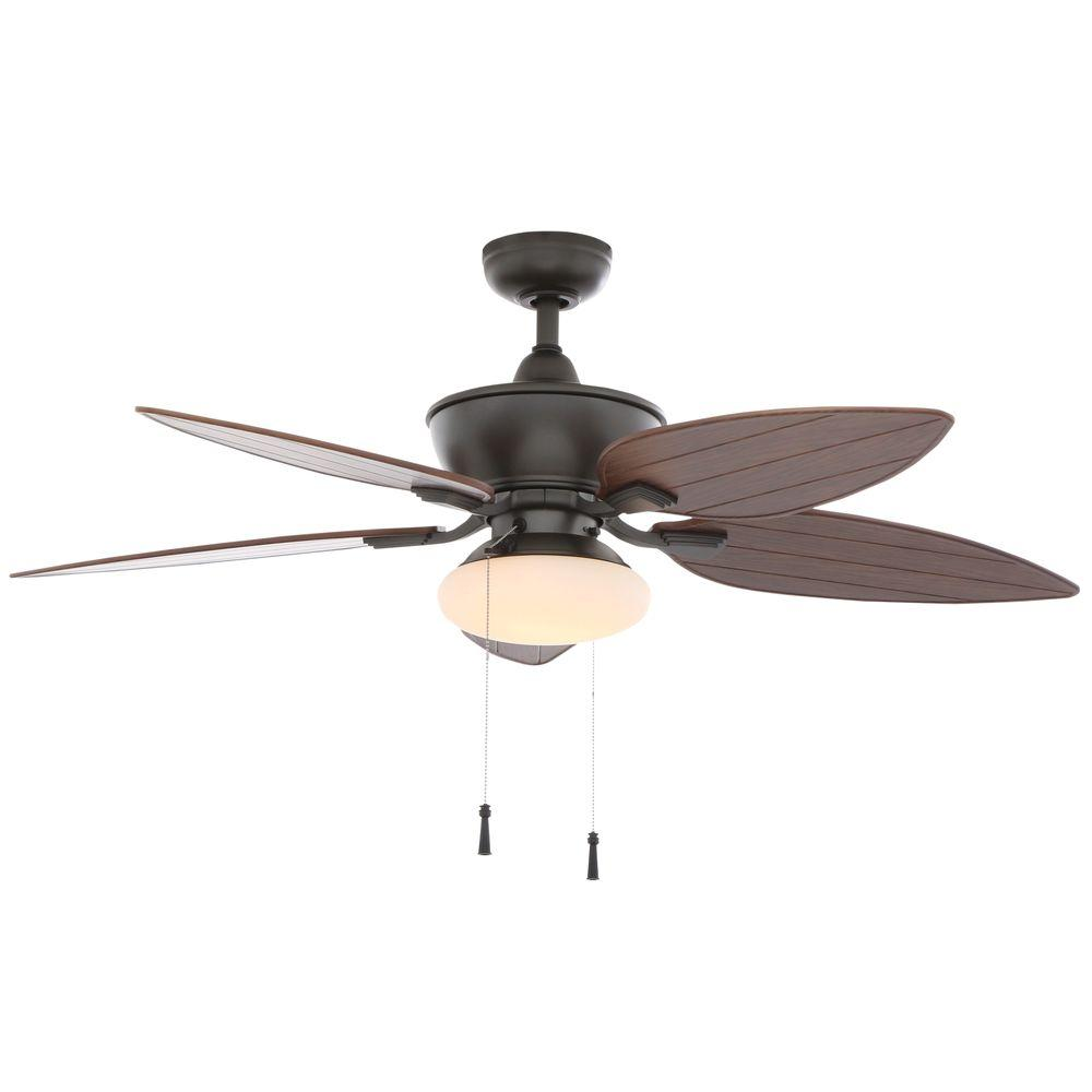 Edgewater II 52 in. Indoor/Outdoor Natural Iron Ceiling Fan with Light