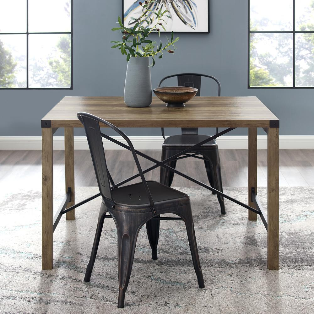 Walker Edison Furniture Company 48 In Rustic Oak Industrial Farmhouse Dining Table Hdw48mwro The Home Depot