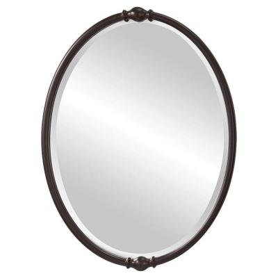 Medium Oval Oil Rubbed Bronze Beveled Glass Classic Mirror (32.875 in. H x 24 in. W)