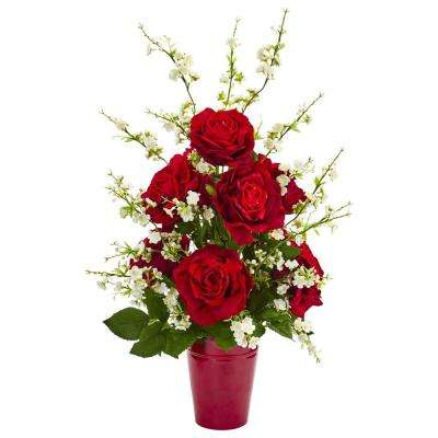 28 in. Indoor Rose and Cherry Blossom Artificial Arrangement