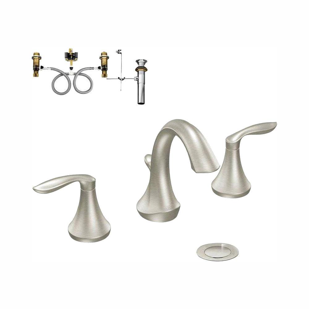 Moen Eva 8 In Widespread 2 Handle Bathroom Faucet Trim Kit With Valve Brushed Nickel T6420bn 9000 The Home Depot