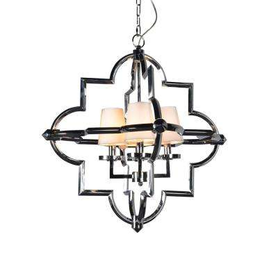 4-Light Chrome Finish Chandelier with Fabric Shade