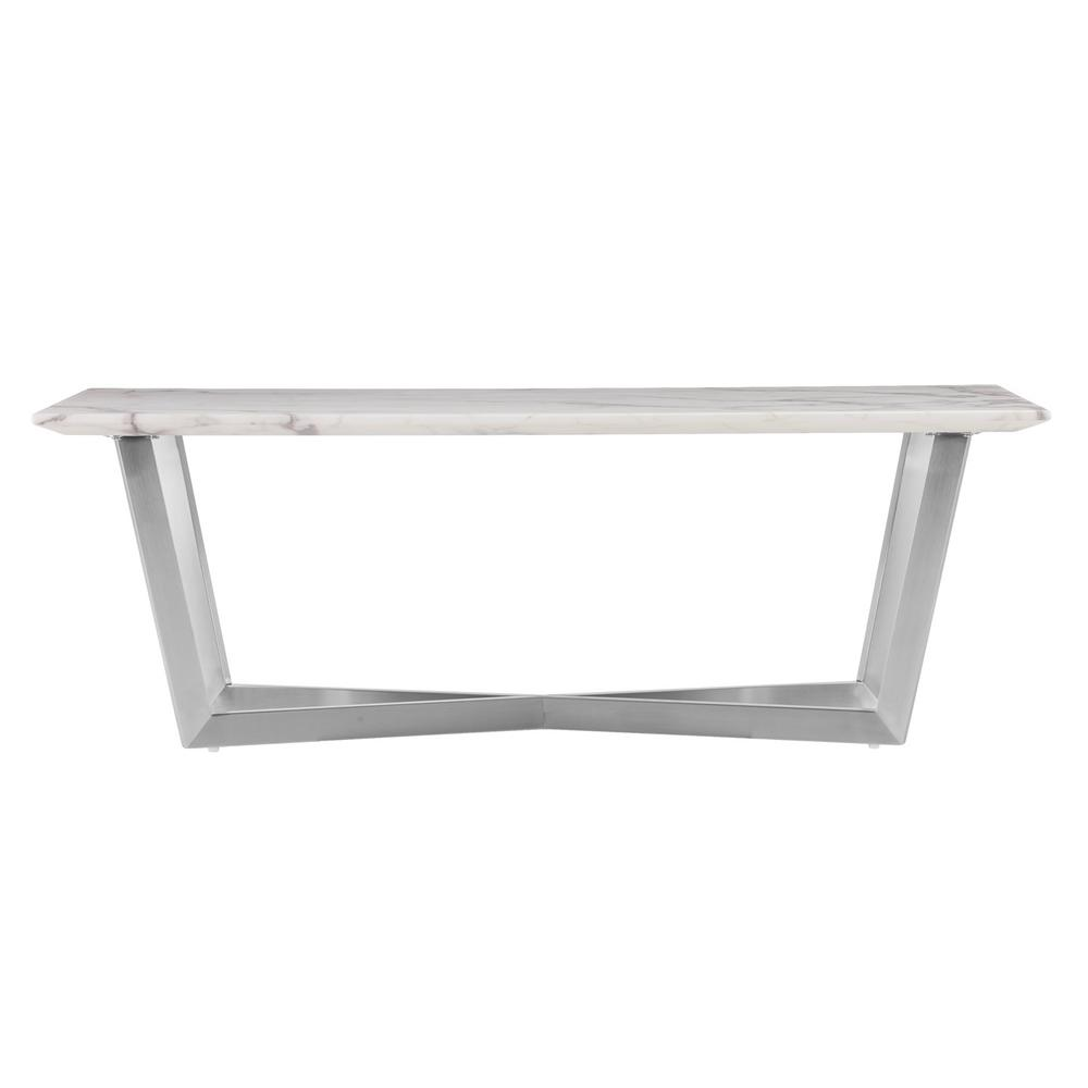 Southern Enterprises Tarle Faux White Marble Cocktail TableHD - Rectangle white marble coffee table