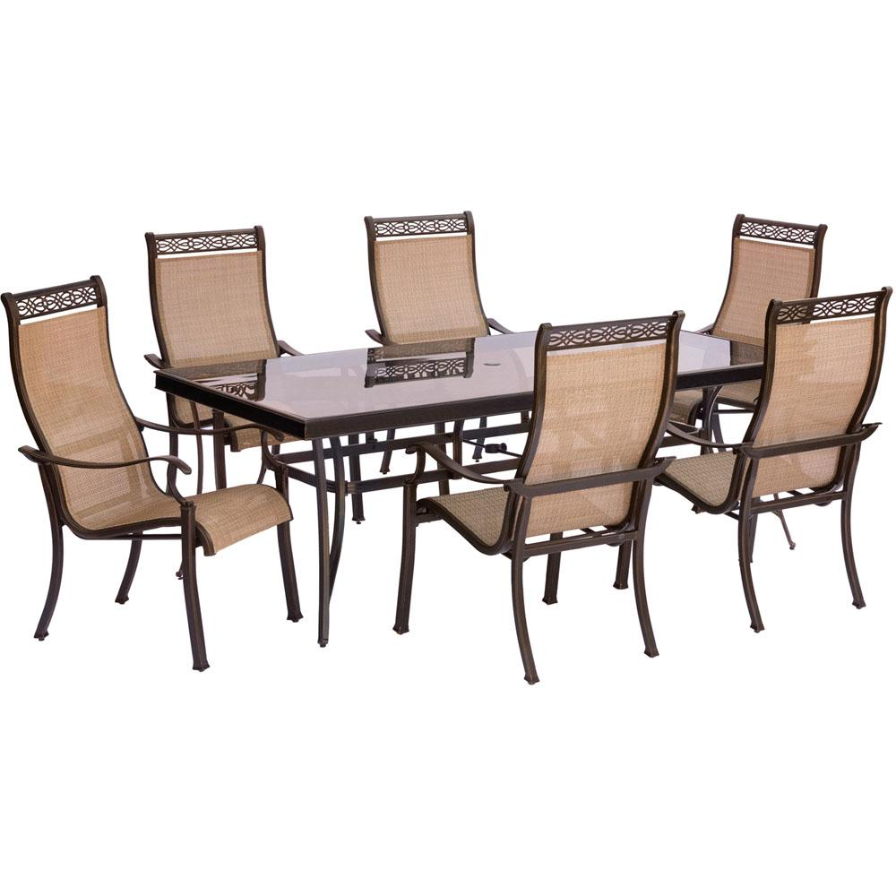 hanover monaco 7 piece aluminum outdoor dining set with rectangular glass top table and. Black Bedroom Furniture Sets. Home Design Ideas