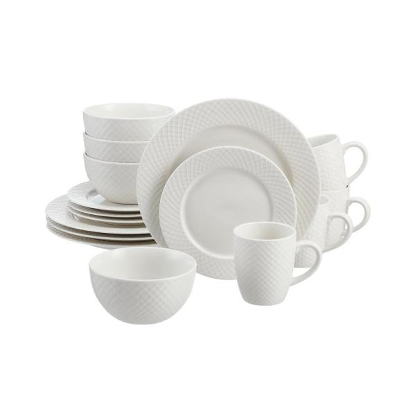 Leighton 16-Piece Textured White Stoneware Dinnerware Set (Service for 4)