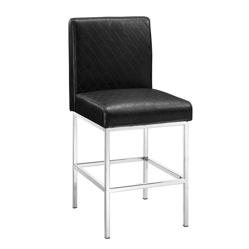 Linon home decor clarey 24 in black cushioned bar stool for Home decor 24