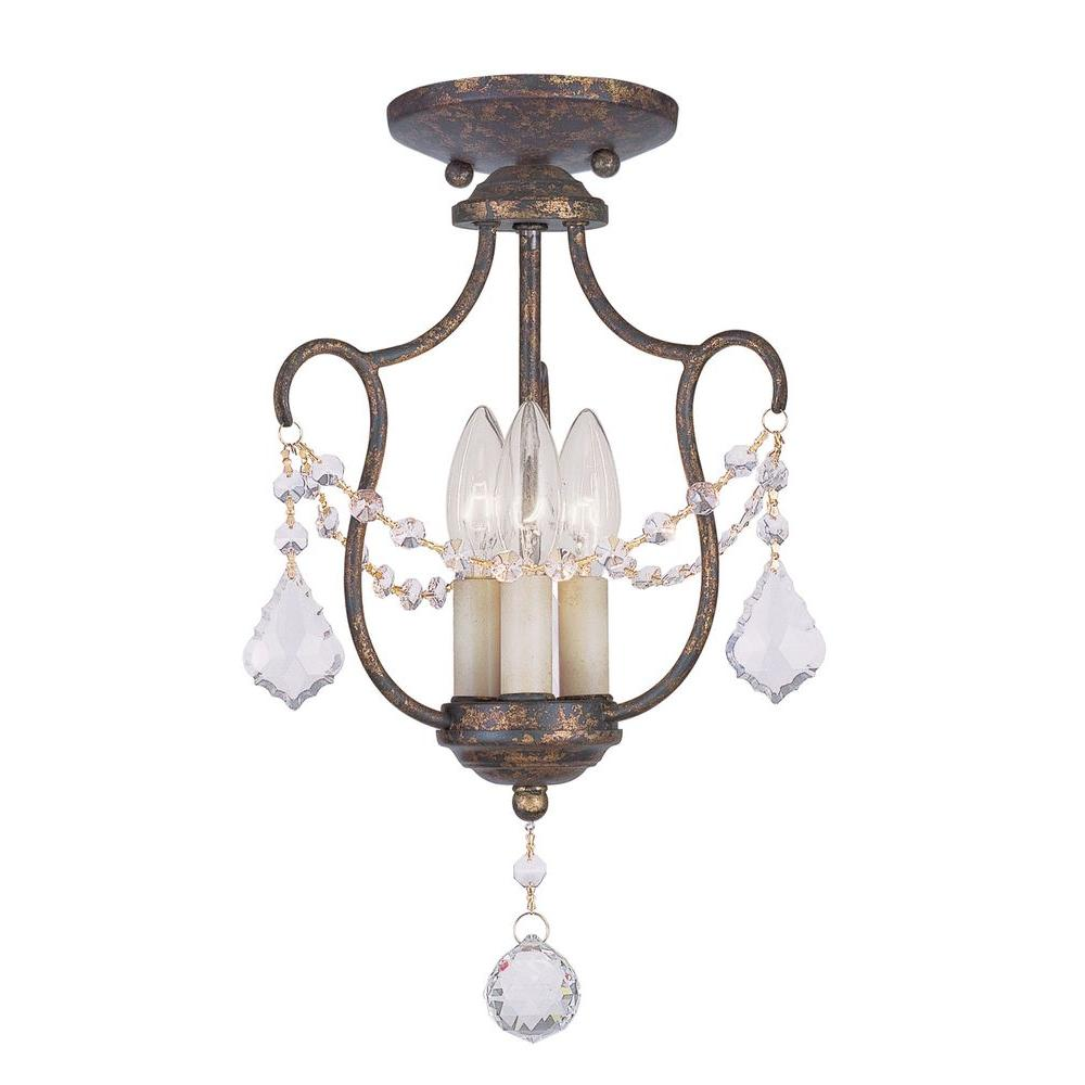 Livex Lighting Providence 3-Light Venetian Golden Bronze Incandescent Ceiling Pendant