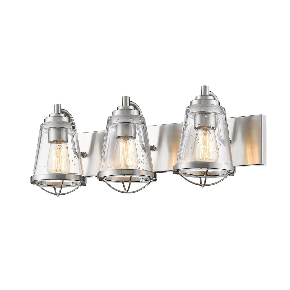 Filament design lorinda 3 light brushed nickel bath light for Brushed nickel lighting for bathroom