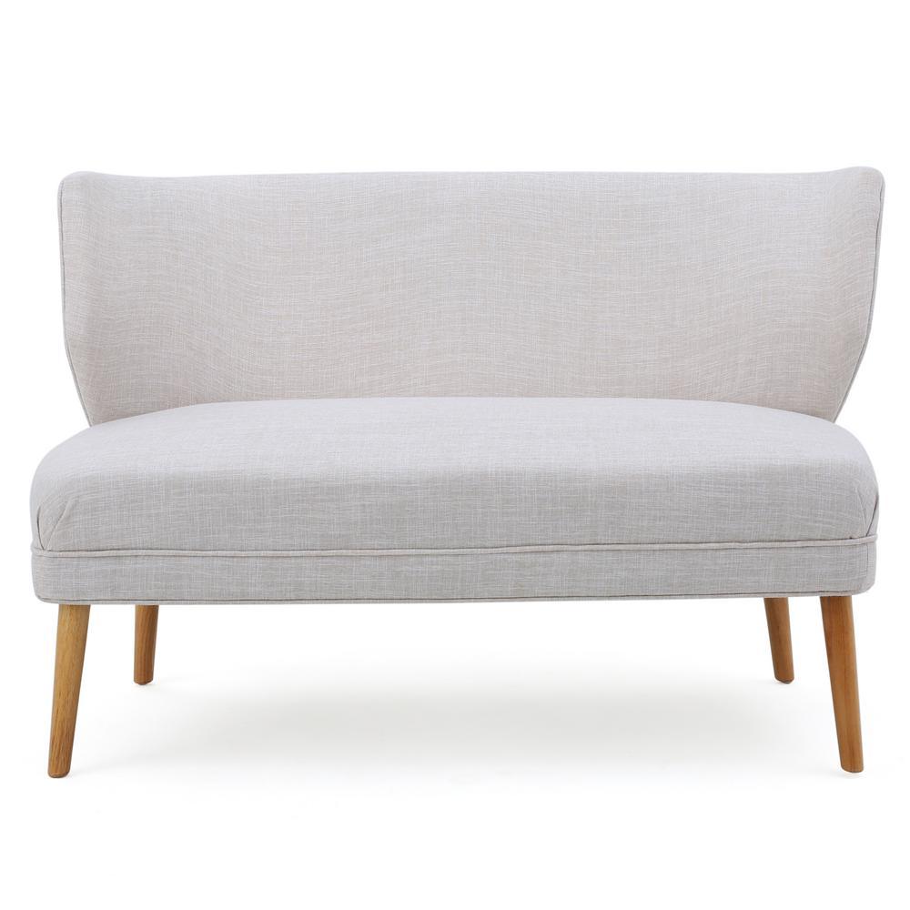 2-Seat Beige Fabric Loveseat