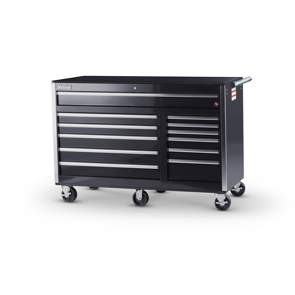 International Tech Series 56 In. 12 Drawer Roller Cabinet Tool Chest In  Black