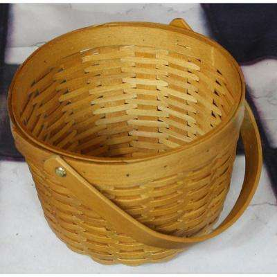 6 in. H x 8 in. W x8 in. D Wood Chip Apple Picking Basket Small