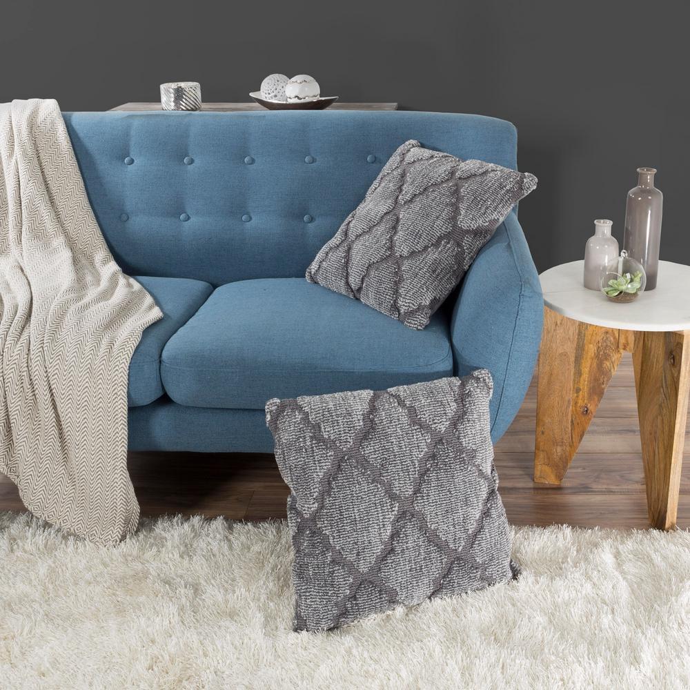 Modern Pillow Lattice Trellis Grey Decorative Pillow