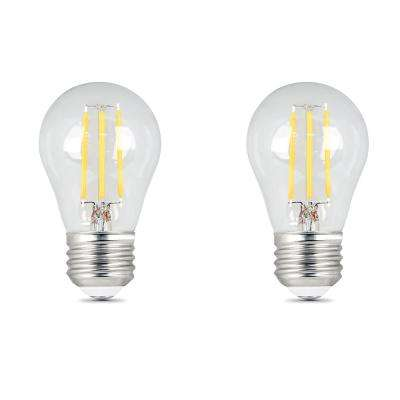 40W Equivalent A15 Dimmable Filament CEC Title 20 90+ CRI Clear Glass LED Ceiling Fan Light Bulb, Daylight (2-Pack)
