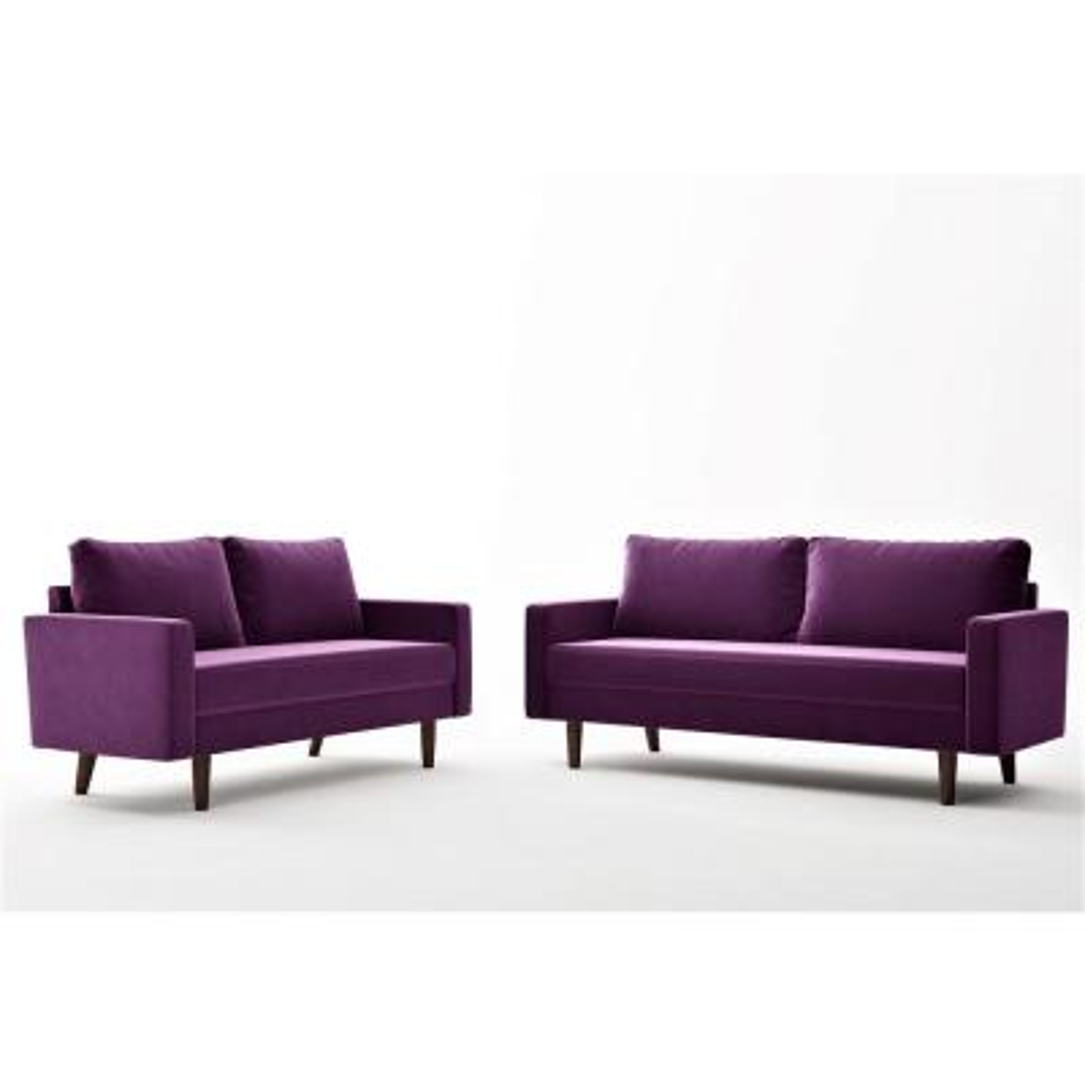 Eggplant Velvet 2 Piece Living Room Set