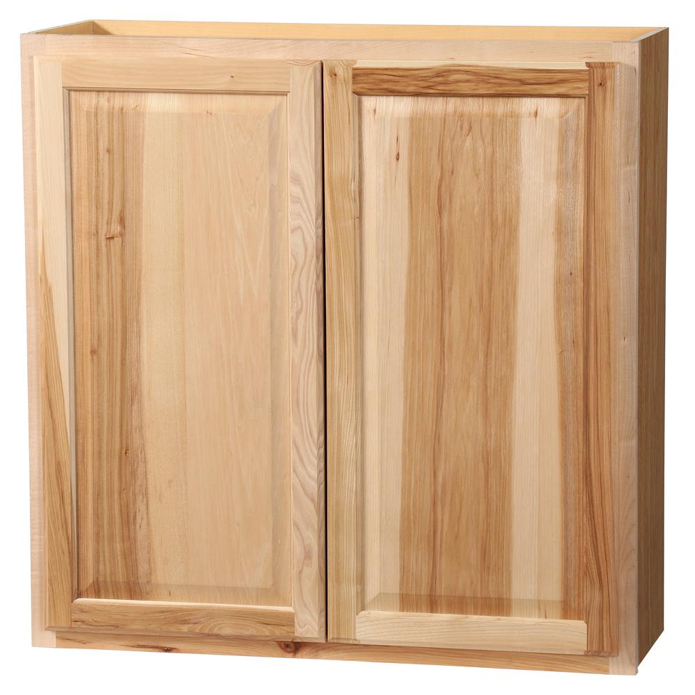 Hampton Bay Hampton Assembled 36x36x12 in. Wall Kitchen Cabinet in Natural Hickory