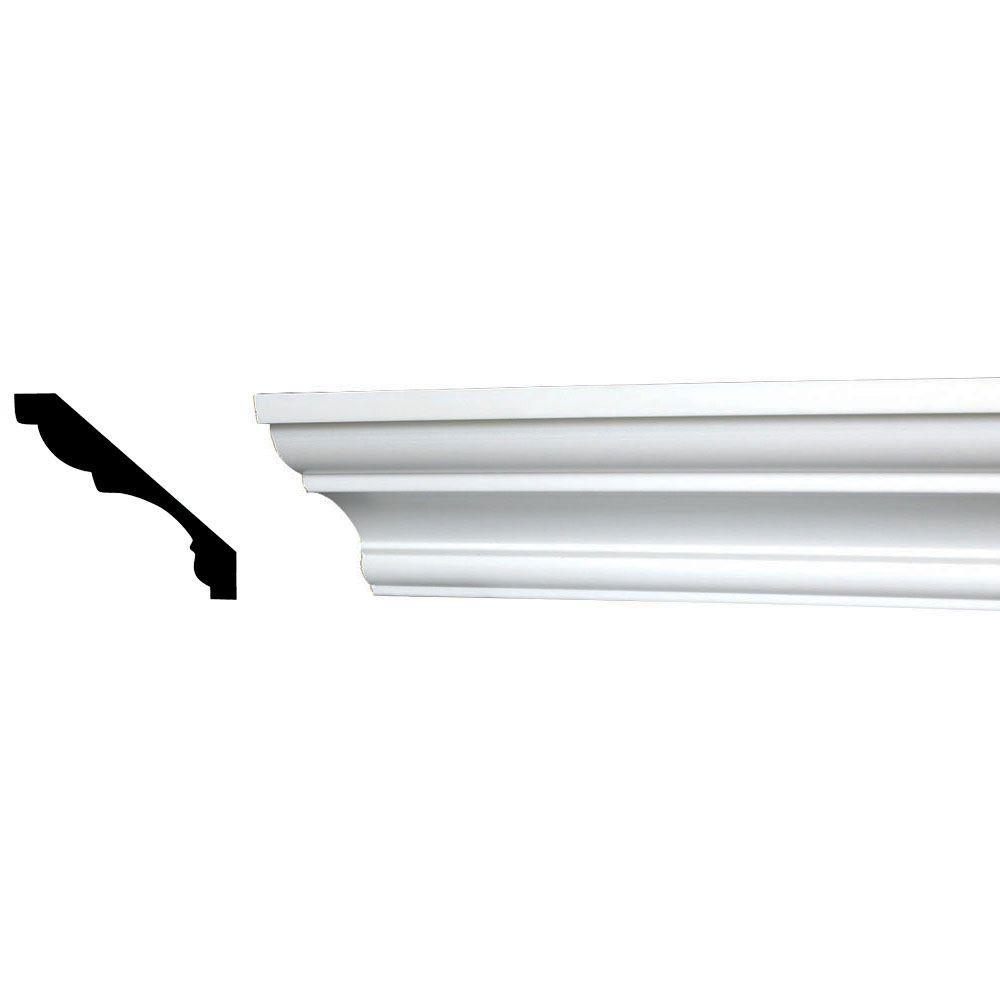 American Pro Decor 3-1/8 in. x 3-1/8 in. x 96 in. Plain Recycled Polystyrene Crown Moulding