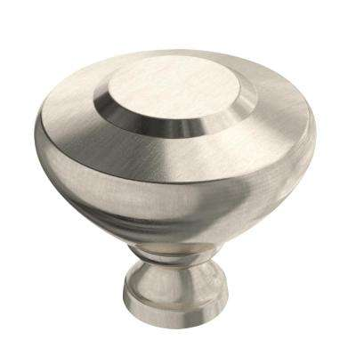 Soft Beveled 1-5/16 in. (34mm) Satin Nickel Round Cabinet Knob