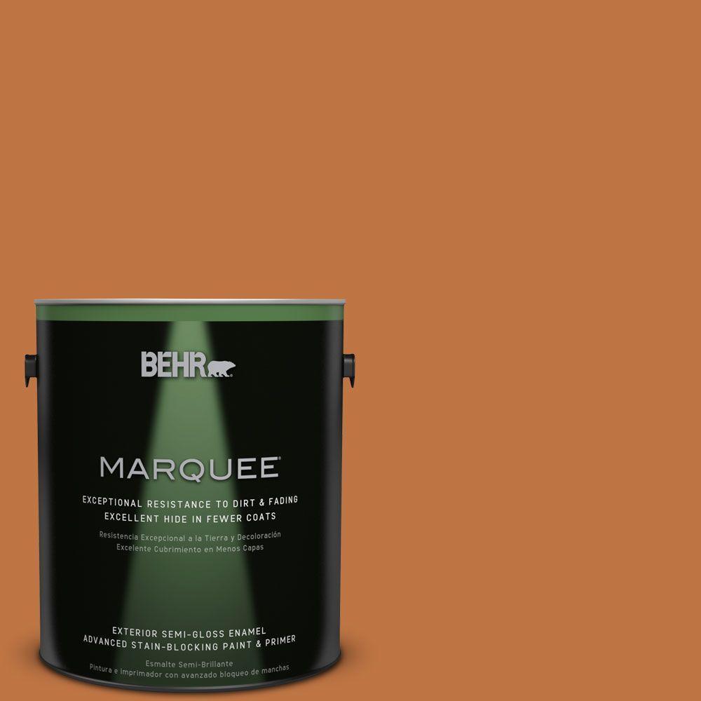 BEHR 1-gal. #PPU3-2 Marmalade Glaze Semi-Gloss Enamel Ext...