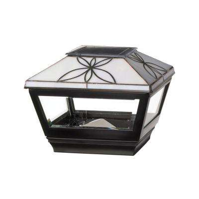 4 in. x 4 in. Vinyl Solar Light Pearl Top Pyramid Post Cap with Black Base