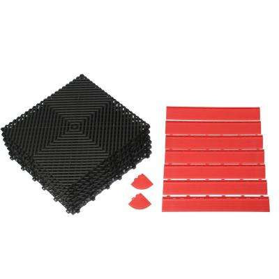 34 in. x 52 in. Rubber Modular Anti-Fatigue Work Mat with Red Edging (10.32 sq. ft. / case)
