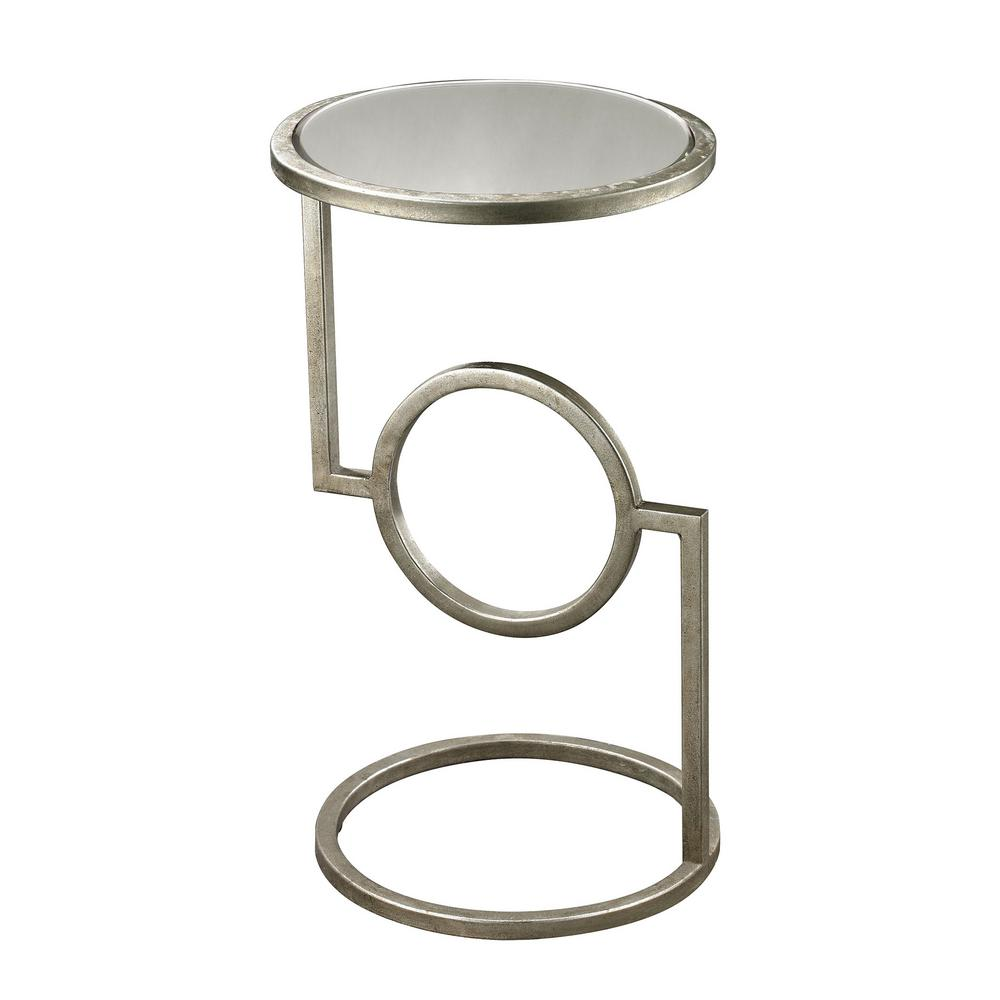 Antique Silver Mirrored Top Side Table, Antique Silver/Mi...
