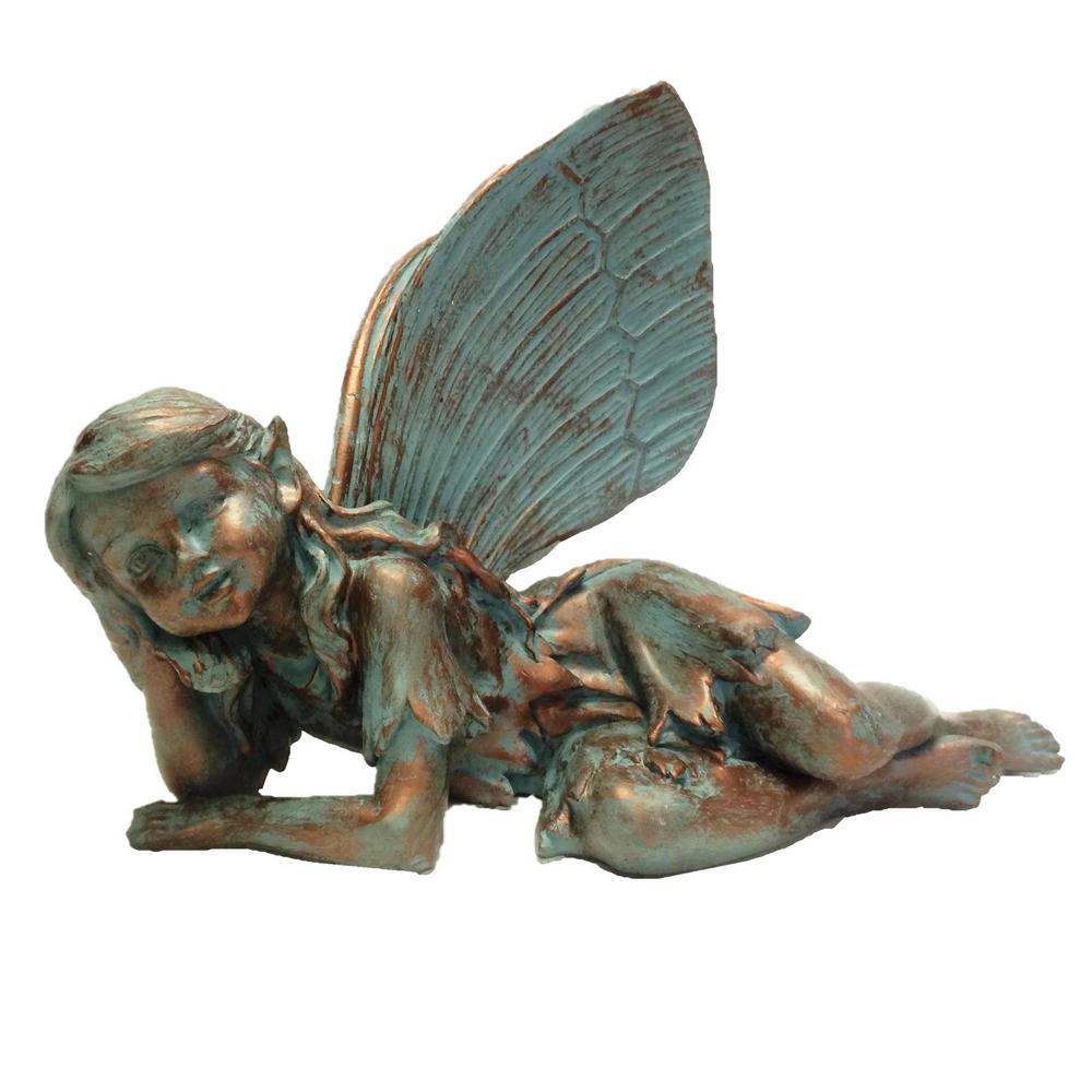 Suffolk Fairies 13 in. Fairy Olivia Bronze Patina Collectible Garden Statue