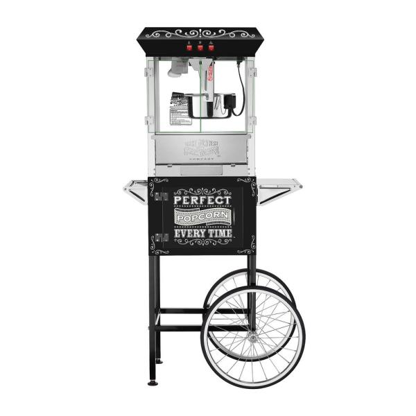 Great Northern Perfect Popper 10 oz. Black Popcorn Machine with Cart