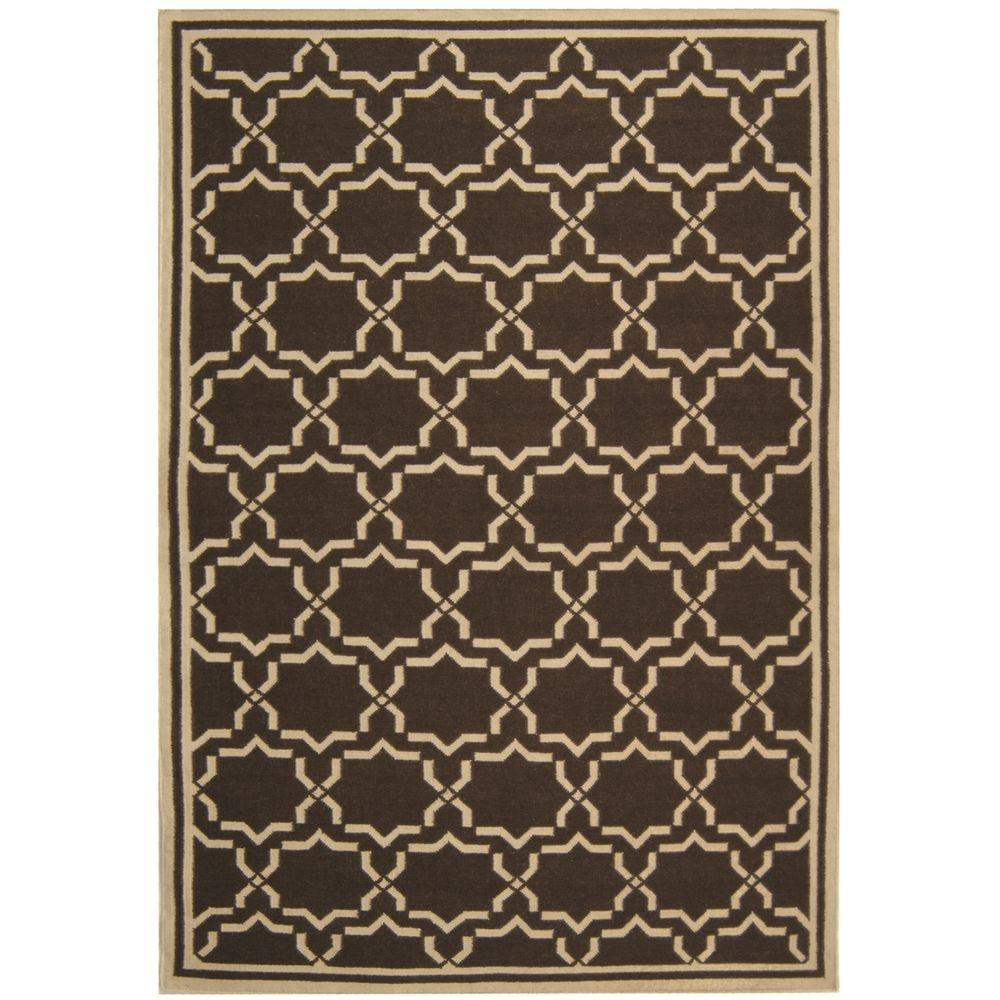 Dhurries Chocolate/Ivory 3 ft. x 5 ft. Area Rug