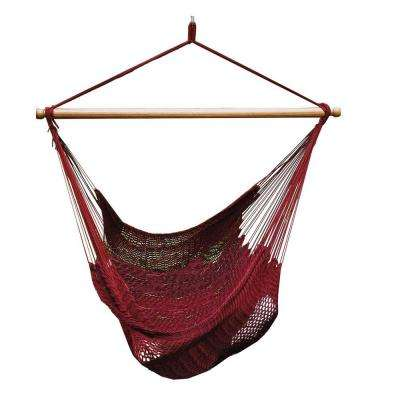 44 in. Polyester Rope Hanging Chair in Burgundy