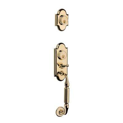 Ashton 2-Point Lock Single Cylinder Polished Brass Right-Handed Door Handleset with Wave Door Lever